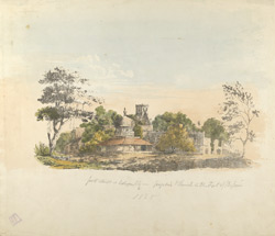 'Pagoda and church in Fort of Bassein, 1828'.  Lithograph hand-coloured by W. Miller.
